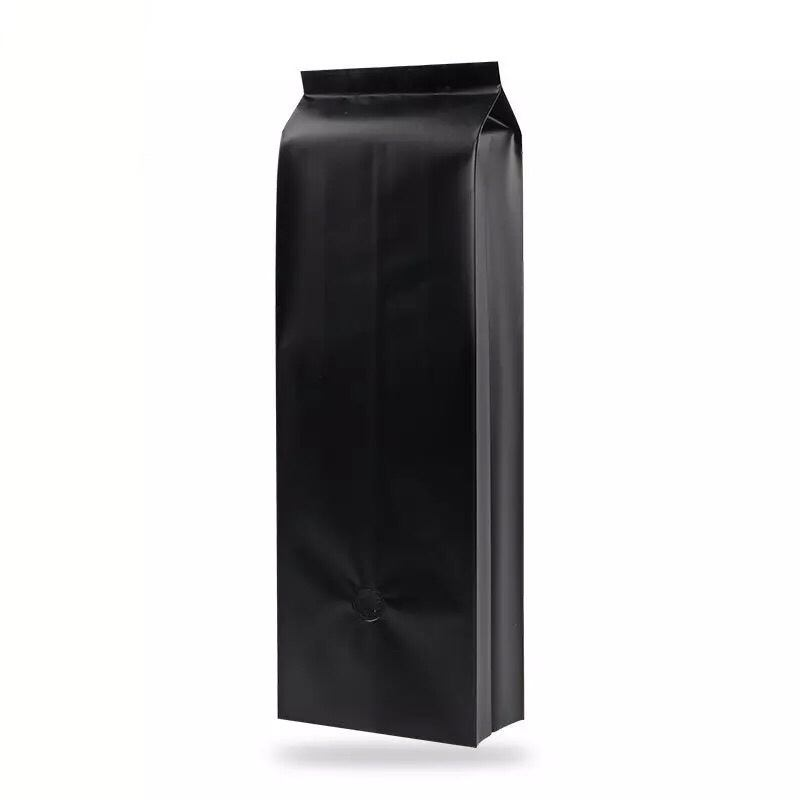 500g 1pound 16oz matte black side gusset luxury coffee packaging bag with valve