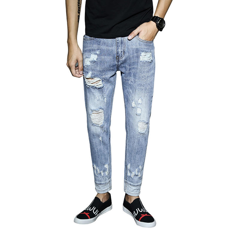 wholesale custom fashion stretch ripped denim man branded distressed trousers skinny jeans men
