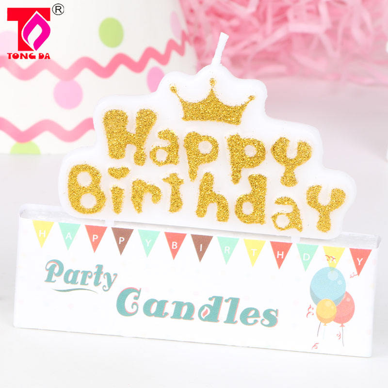 Gold birthday happy letter candle, crown shaped candle