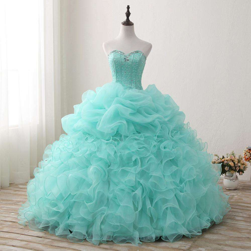 Ball Gown Quinceanera Dresses Sweetheart Beaded Puffy Custom Prom Evening Pageant Gowns