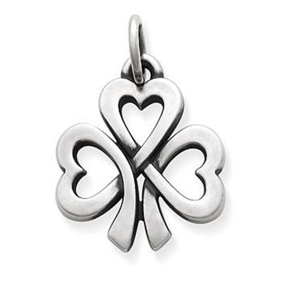 925 sterling silver flower charm Shamrock of Hearts Charm