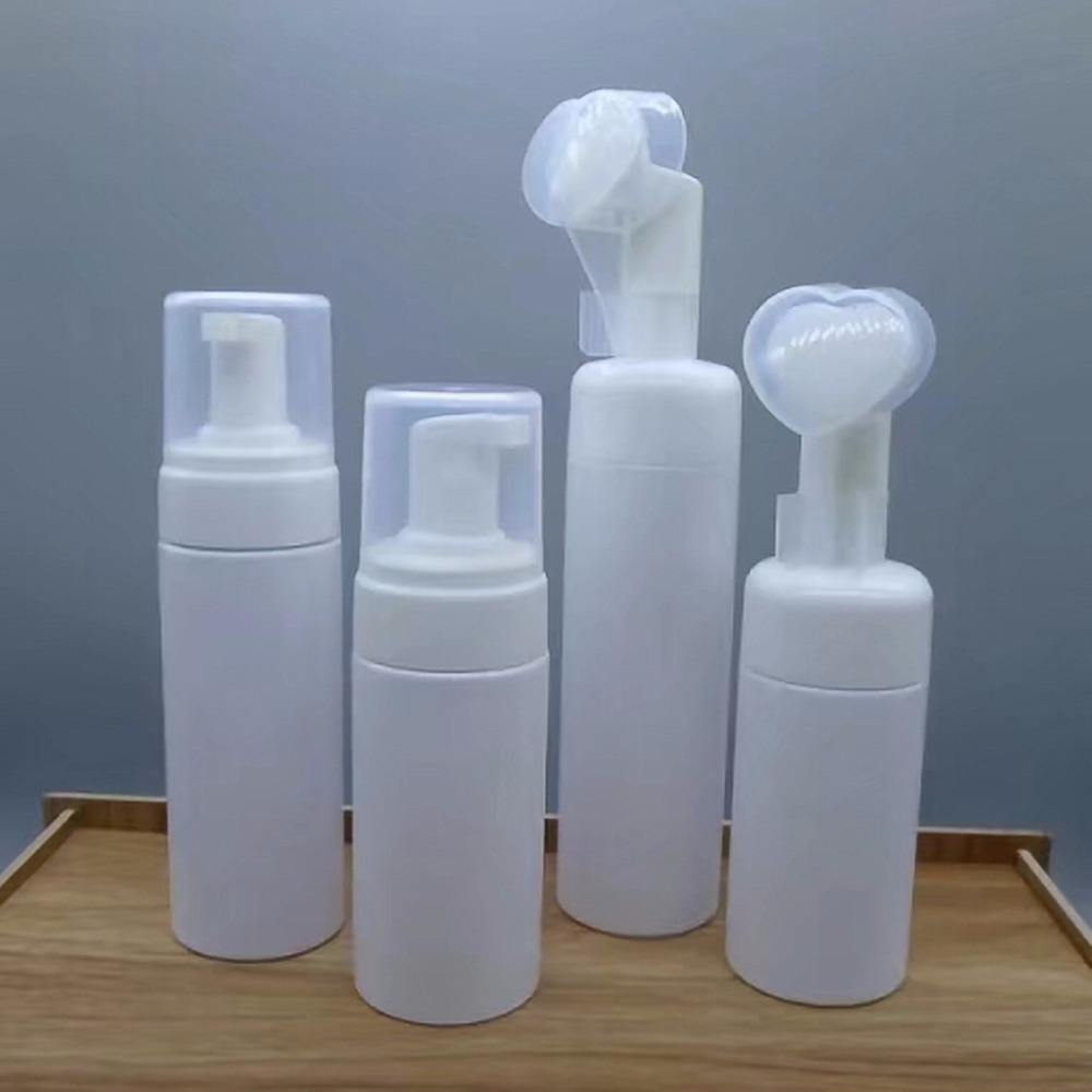 100ml 150ml 200ml plastic cosmetic foam pump bottle 80ml dispenser spray applicator bottle with brush top for cleanser and mouss