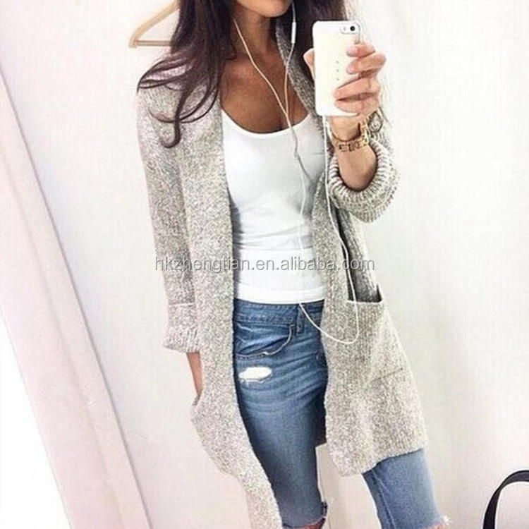 autumn woman clothing Long sleeve pure color big pocket medium style woman cardigan