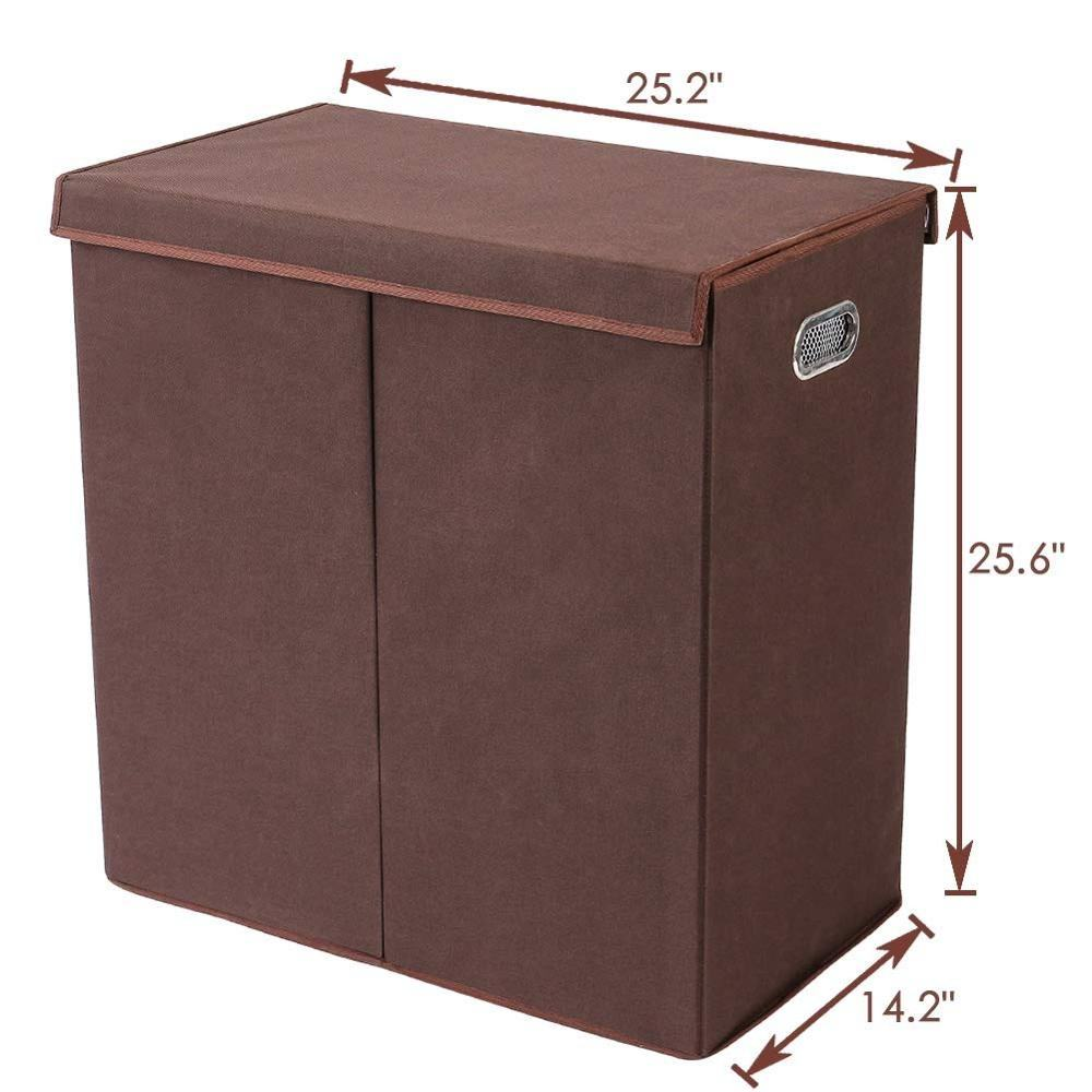 High Quality With metal handle High capacity 2 Compartment Living Room Linen Laundry Basket