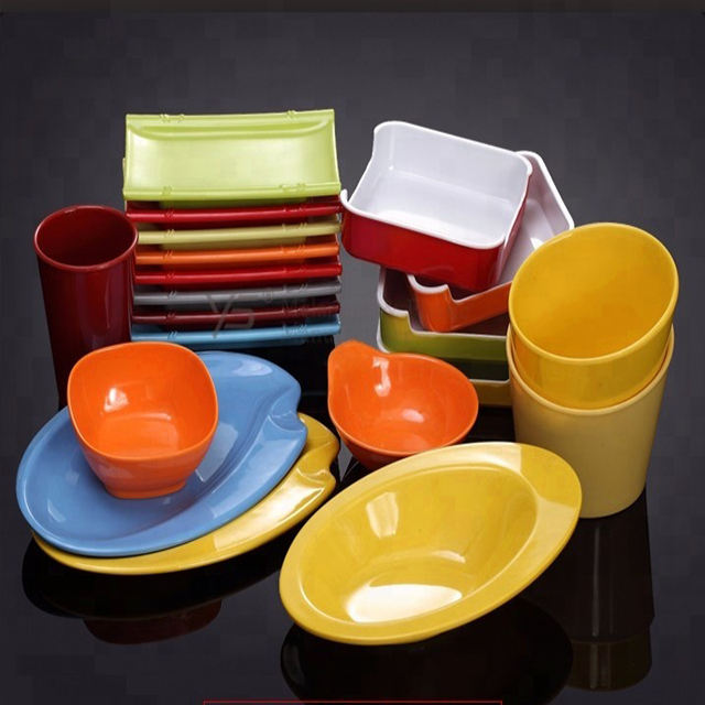 Multi color 100% melamine 72 pcs dinner set