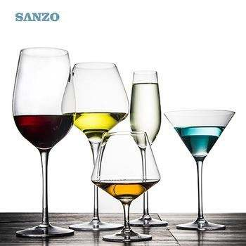 SANZO Antler Wine Glass Handblown Engraved Snow Red Stemless Wineglass