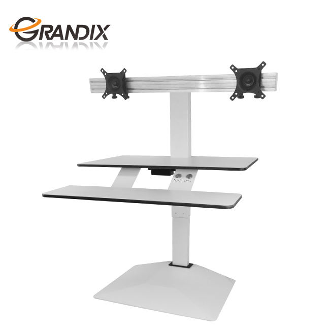 Height Adjustable Electric Ergonomic Standing Fully Automatic Sit-Stand Computer Desk Monitor Riser Workstation with Keyboard