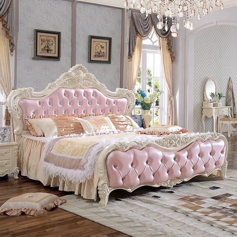 quality antique design bedroom furniture/luxury 1.8m soft bed/pink princess bed