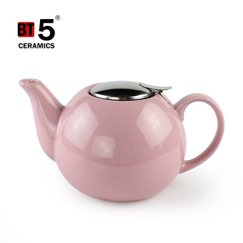 Large pink color pour water kettles ceramic teapot with stainless steel lid