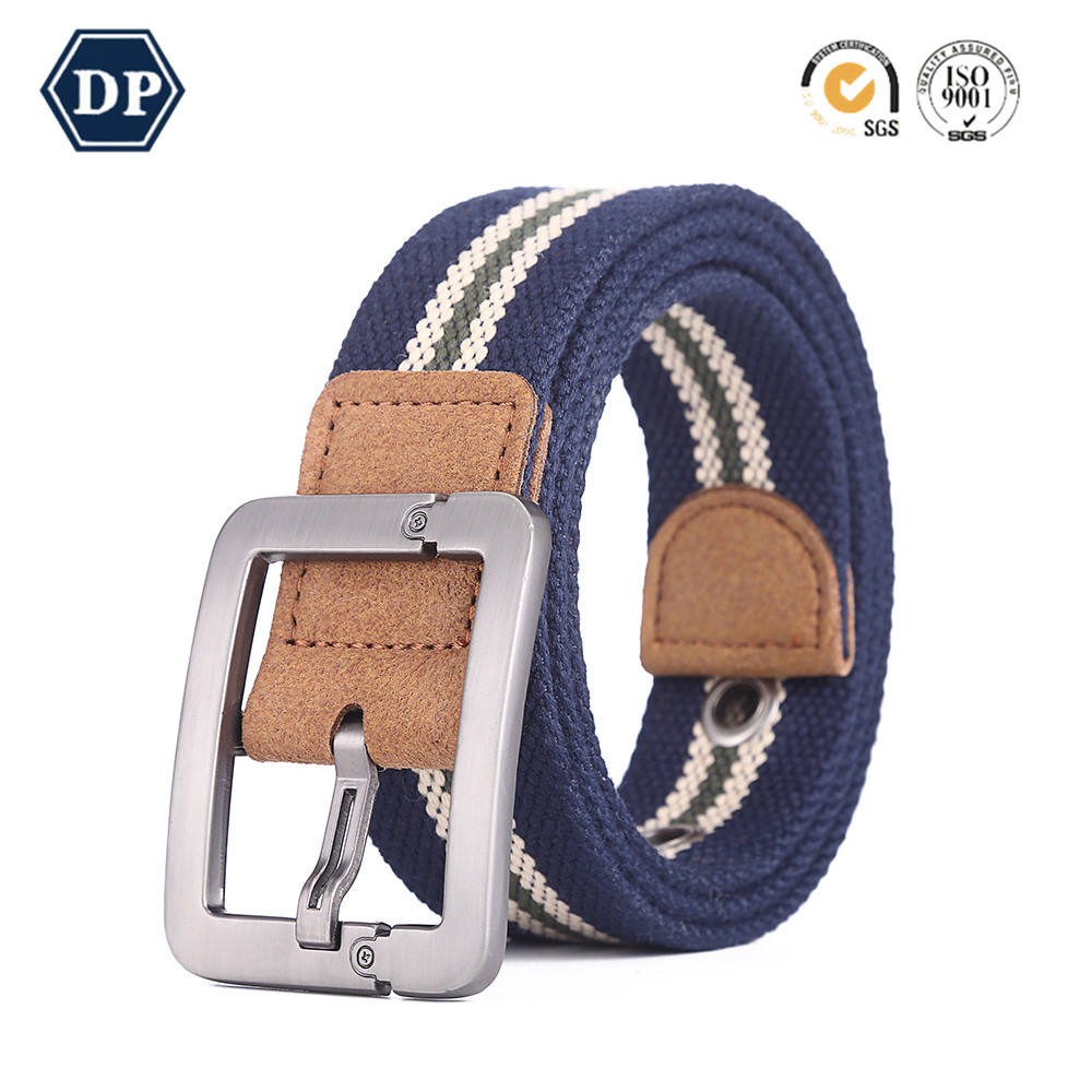 Double D-Ring Buckle Canvas Webbing Fabric Belt for men