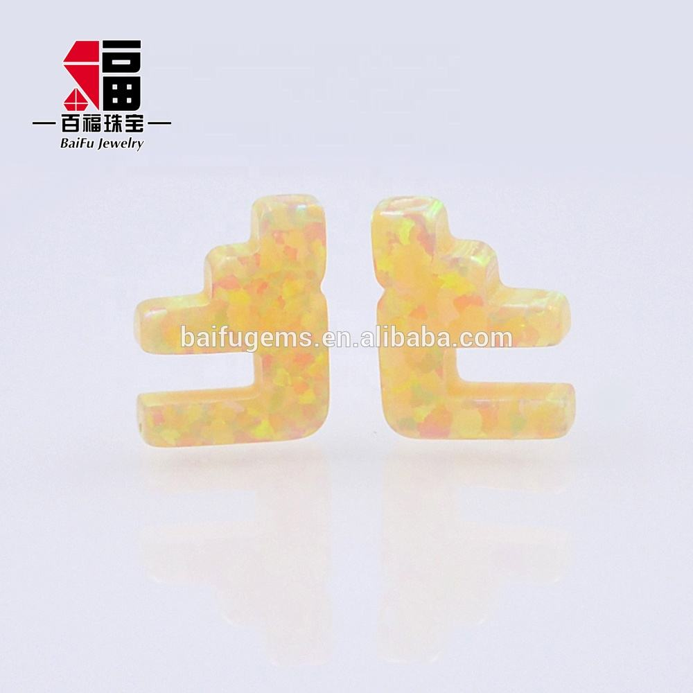 Hot Sale Colorful F Shape Synthetic Fire Man Made Opal