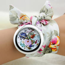 New Design Ladies Flower Cloth Wrist Watch Fashion Women Dress Watch High Quality Fabric Clock Sweet Girls Watch