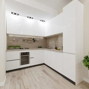 High Gloss White Colour Wooden Lacquer Kitchen Units L Shape Modular Kitchen Cabinet