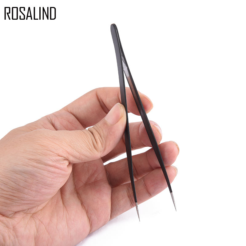 ROSALIND Straight Curved Tweezer Stainless Steel Nail Sticker Rhinestone Picker Eye Makeup Nail Art Tool 1Pcs