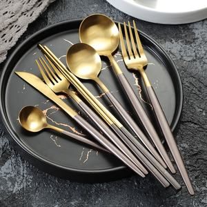 PVD Titanium plated gold spoons, gold flatware, gold cutlery