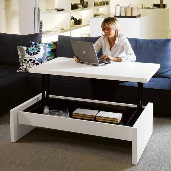 White Modern adjustable wooden coffee table lift design