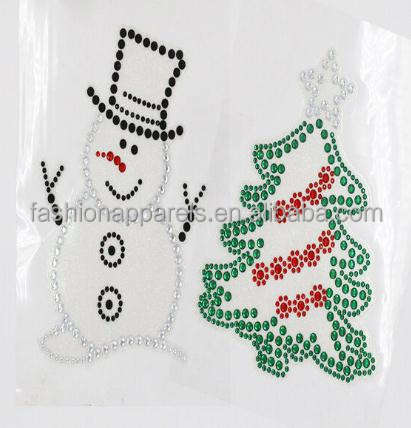 Hot Sale Christmas Tree Snow man Acrylic Stone Sticker Self Adhesive Decal For Decoration Holiday