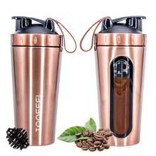 TOOFEEL Protein Shaker Bottle, Stainless Steel Sports Water Bottle Shaker Cup with Ball, Visible Window