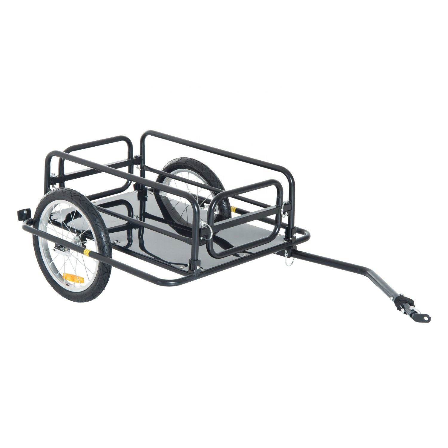 Folding Bicycle Bike Cargo Storage Cart and Luggage Trailer with Hitch