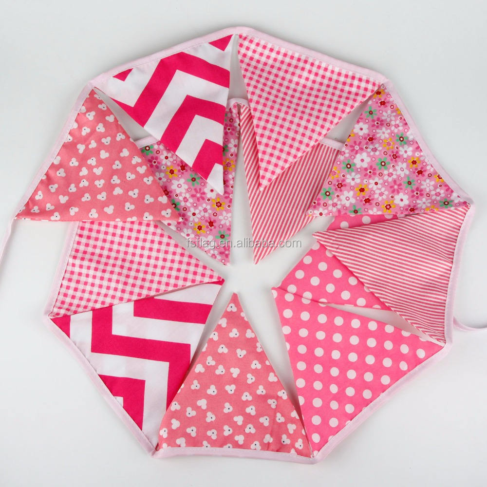 Very Soft Double Sided Custom Design Indoor and Outdoor Decoration Fabric Bunting Cotton