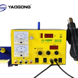 YAOGONG Big Deal 909 Autocut  hot air 3 in 1 DC power supply soldering rework station