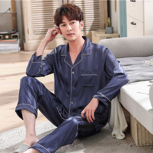 Men's Classic solid Satin 2 piece Pajama Set Sleepwear