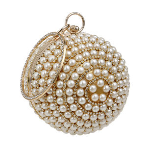 Women Pearls Round Ball Clutch Handbag Evening Bag with Dazzling Full Rhinestone Ring Handle Purse Wholesale