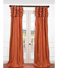 Half Price Drapes, Ruched Faux Silk Taffeta Curtain, Platinum for Dining , Bedroom Living Room, Nursery