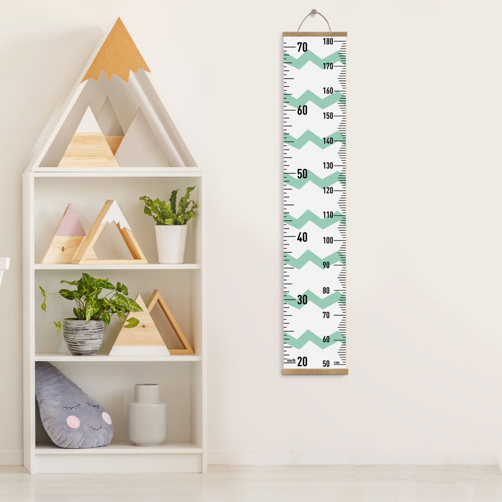 FUNLIFE Green Wave Kids Growth Chart, Wood Frame Canvas Height Measurement Ruler for Kids Room Decoration HR005
