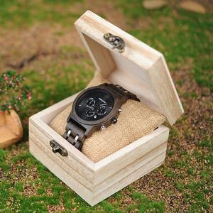 2020 alibaba hot products BOBO BIRD Cool Stainless steel Military Watches Black Wood Watch in wooden gift box