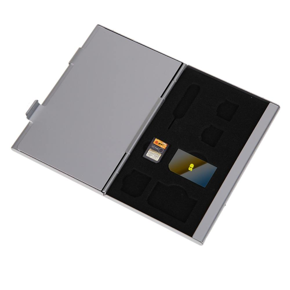 14 in 1 Silver Aluminum SIM Micro SIM Memory Cards Pin Storage Box Case Holder Protector For Micro Memory SD Card