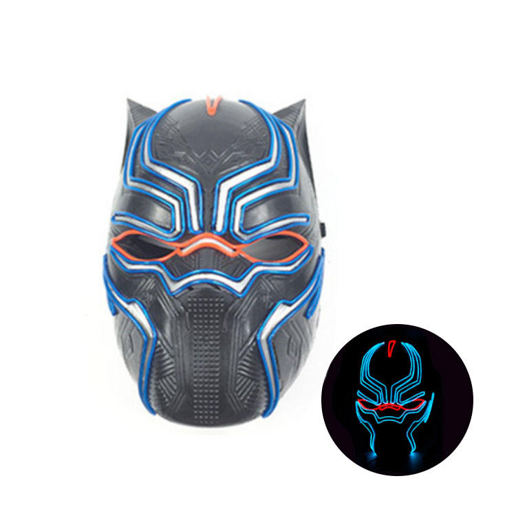 Neon Mask Factory Price EL Wire Neon Black Panther Party Mask for Halloween