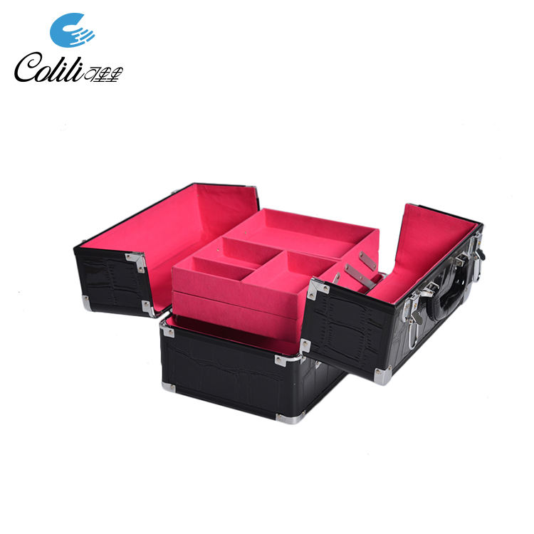 Factory portable aluminum frame leather metal cosmetic jewelry case
