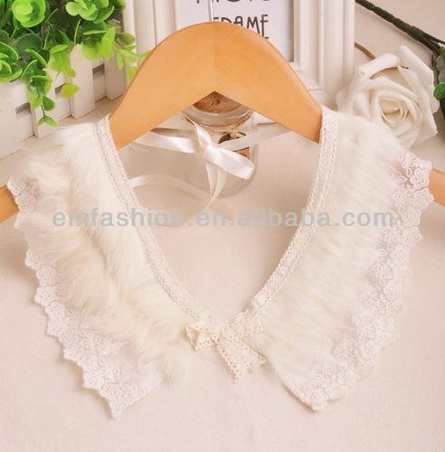 Fashion Lady Korean Style Vintage Lace Bowknot White Animal Wool False Collar Necklace
