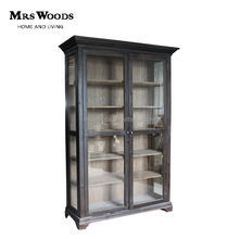 Reclaimed wood 2 mirrored doors china display curio cabinet