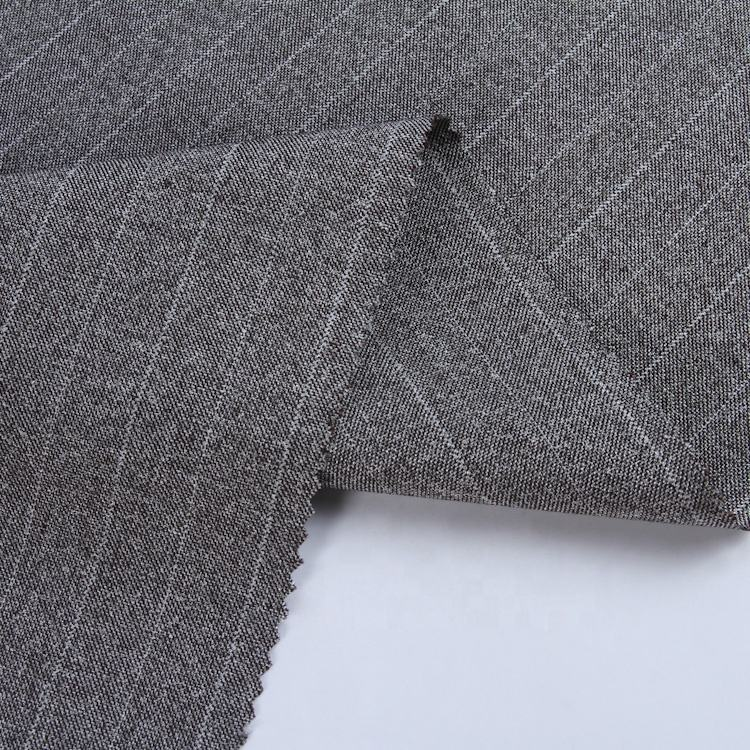 2019 China factory direct sale woven plain stretch poly rayon stripe suit fabric