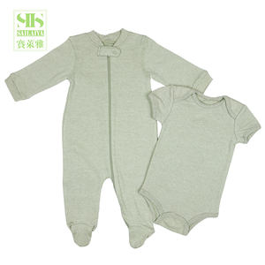 factory green baby bodysuit baby romper set organic cotton baby pajama clothes