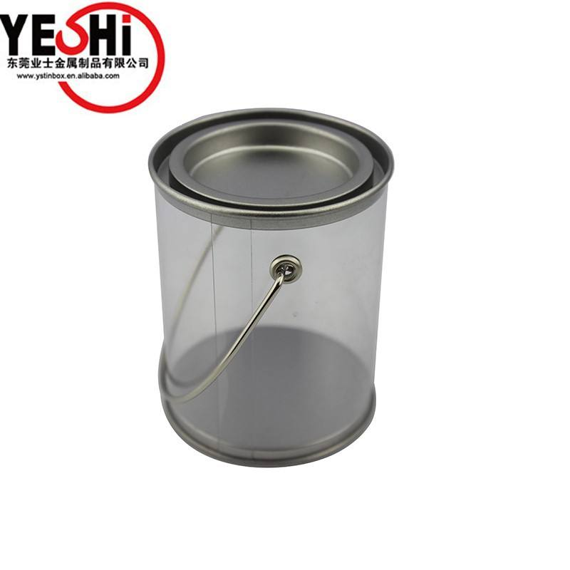 Custom printing Food Handle Bucket with Clear PVC Body and tin lid