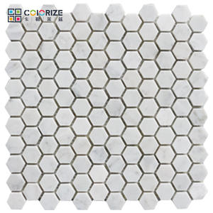 Custom carrara hexagon honed mosaic tile meshed on 12x12 sheet, hexagon honeycomb mosaic tile