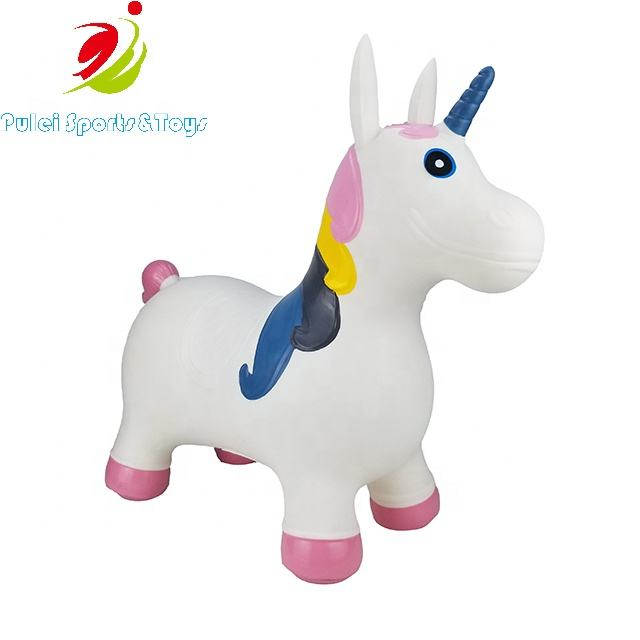 EN71 Standard Kids Activity Toys inflatable PVC Hopper Bouncy Animal Unicorn for 3 year old Jumping Outdoor