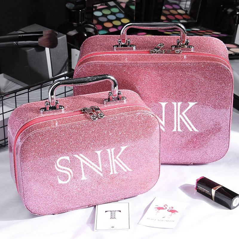 Portable Luxury Ladies Pink Travel Makeup Case Bag Large, Hard Case Waterproof Pink Glitter Cosmetic Bag with Logo Custom^
