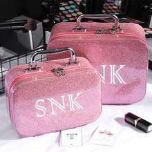 Portable Luxury Ladies Pink Travel Makeup Case Bag Large Hard Case Waterproof Pink Glitter Cosmetic Bag with Logo Custom^