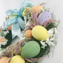 Happy easter easter wreath with styrofoam eggs toy garland