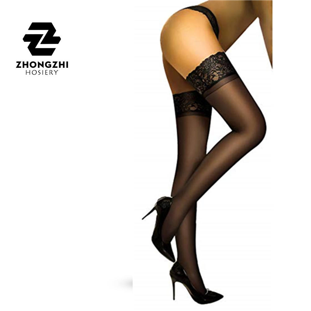 Women Thigh High Stockings With Sheer Lace Silicone Stay Up Tights Nylon Pantyhose for Women