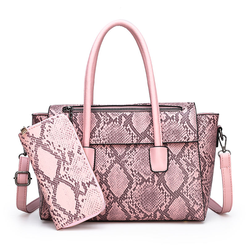 2019 Wholesale Python Snakeskin Office Ladies Handbag Bag Set With Cluth