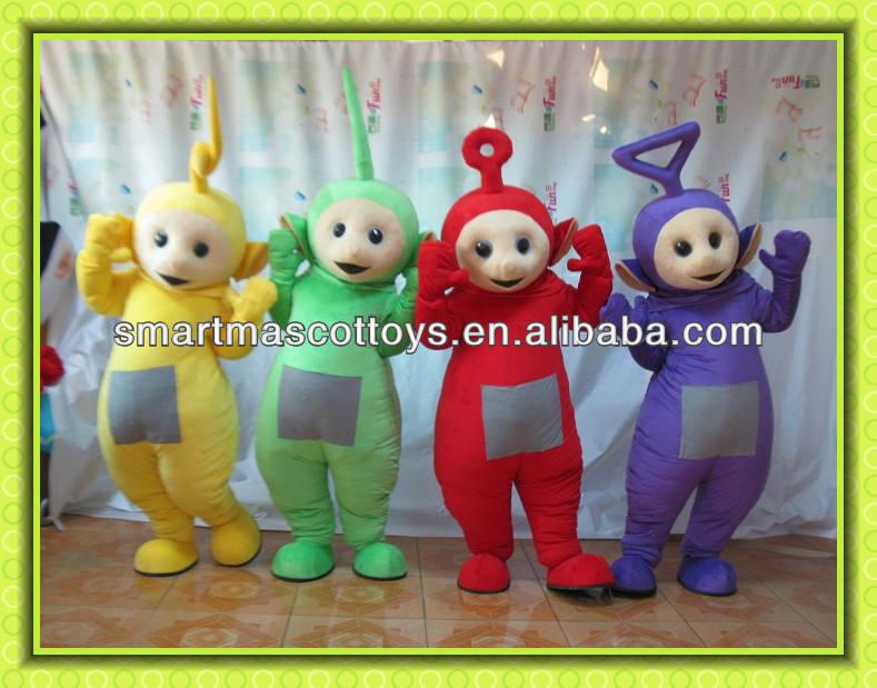 2014 venta caliente de alta calidad hermosa teletubby adultos disfraces mascota