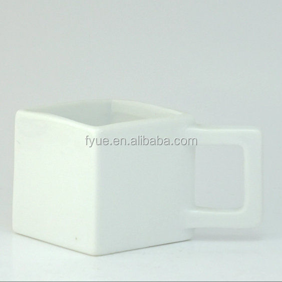 Wholesale square ceramic coffee mugs / cube shape mug