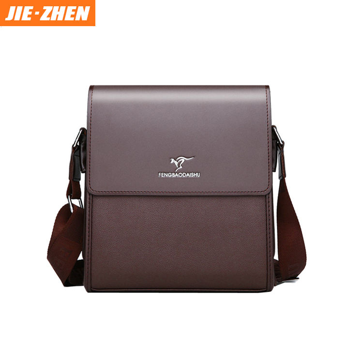 2020 high quality soft leather custom print logo waterproof messenger bag shoulder bag for men