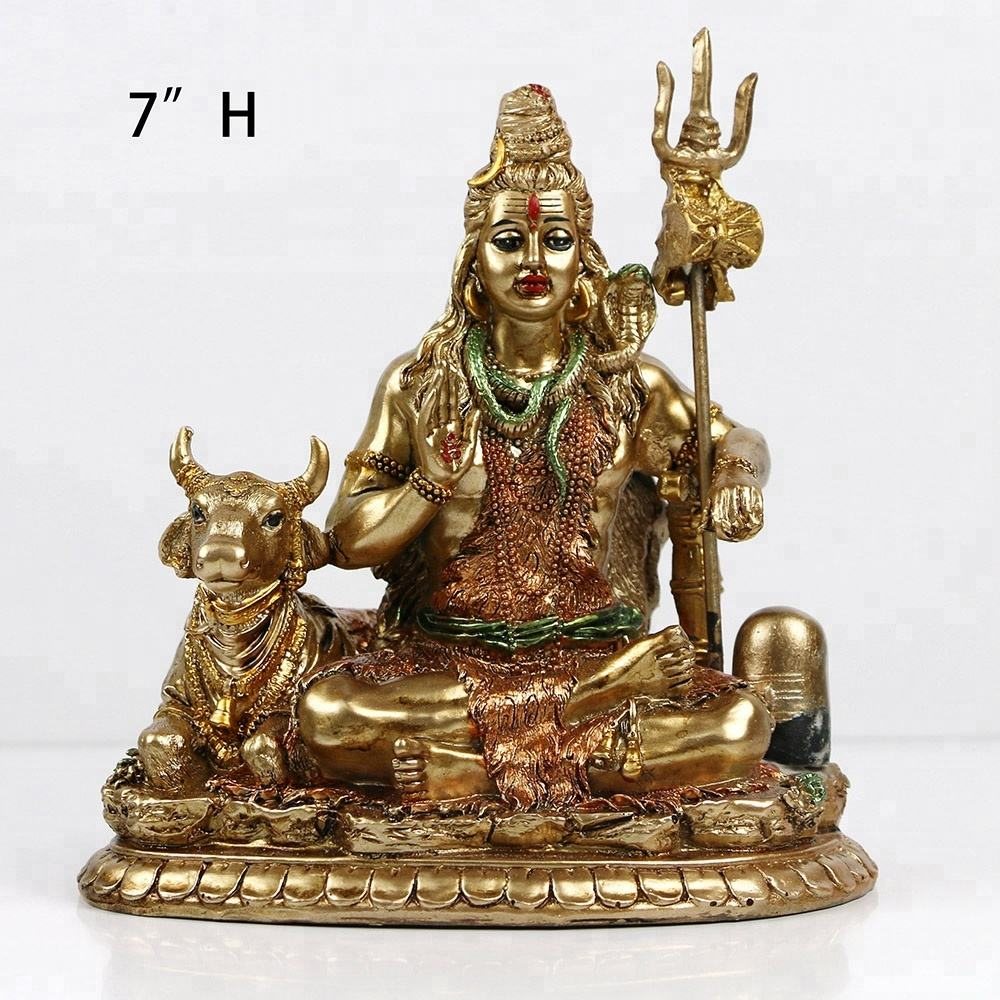 "Lord Shiva Statue On Lotus - 6.3""Height Resin Hindu Nataraja Deity Figurine Idol Statuettes Meditation Sculpture Home Decor"