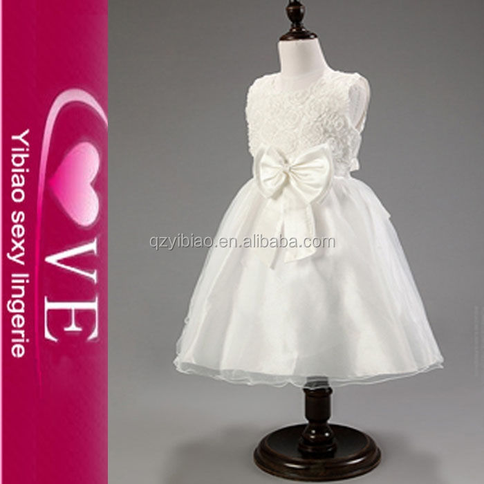 nuevas llegadas vestido formal con bowknot flor blanca vestidos de la muchacha